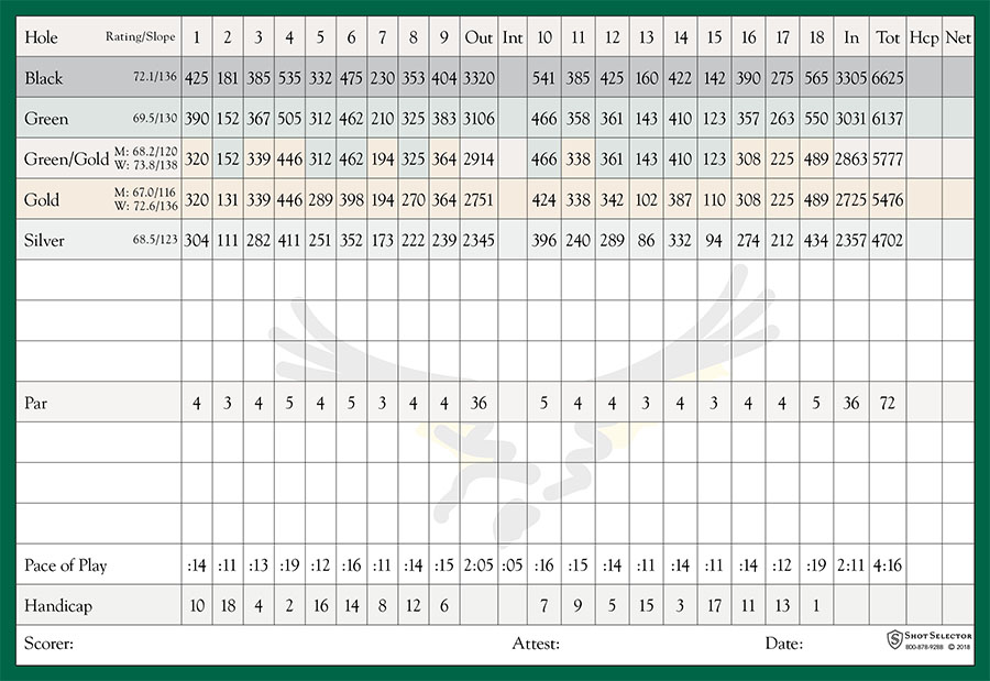 Hawk's Landing Golf Club at the Orlando World Center Marriott Scorecard
